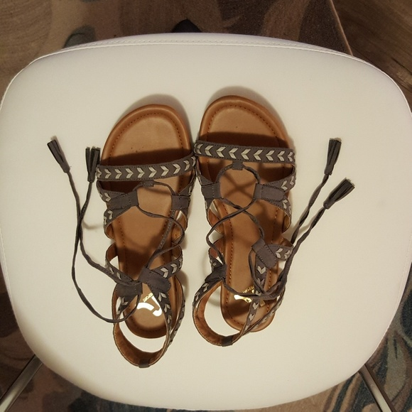 Report Shoes - Gray gladiator sandals wide